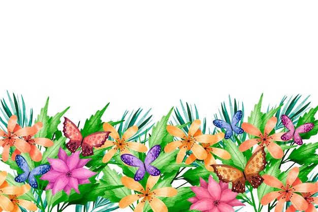 Fond de printemps coloré avec des fleurs aquarelles