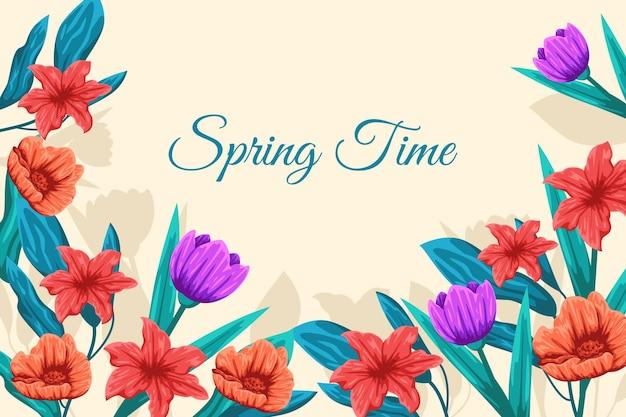 Fond de printemps coloré plat détaillé