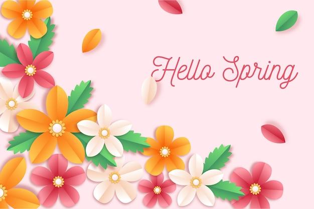 Fond de printemps dans le concept de style de papier coloré