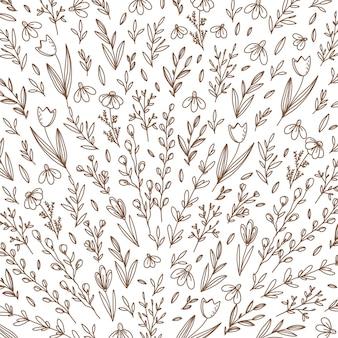 Fond de printemps dessiné à la main avec des fleurs et des feuilles dessinées à la main