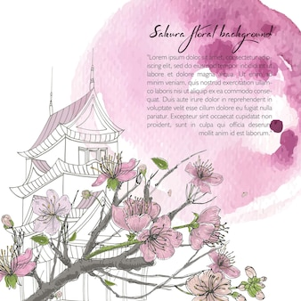 Fond de printemps dessiné à la main avec sakura en fleurs, maison japonaise et tache d'aquarelle. modèle de conception avec place pour le texte.