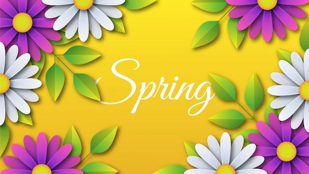 Fond de printemps avec des fleurs et des feuilles coupées en papier