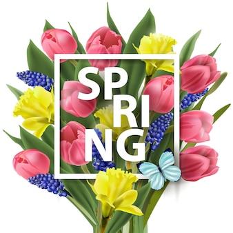 Fond de printemps avec fleurs printanières, tulipes, jonquilles, muscari. modèle vectoriel