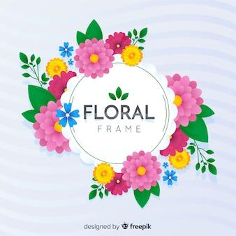 Fond de printemps floral cadre dessiné à la main