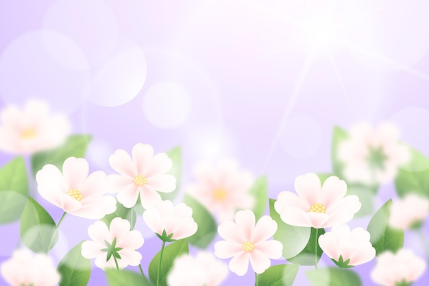 Fond de printemps flou réaliste de ciel violet