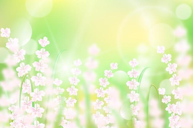 Fond de printemps flou réaliste de fleurs blanches