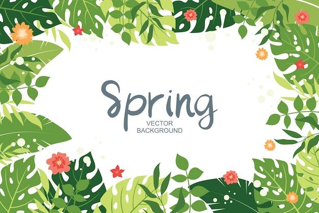 Fond de printemps mignon avec des feuilles tropicales et des éléments floraux, style simple et branché