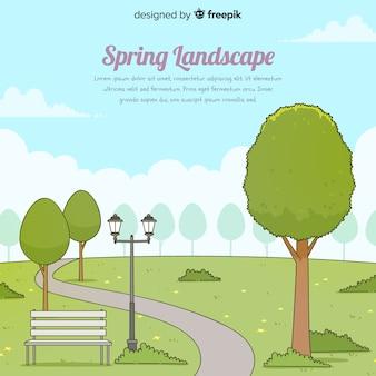 Fond de printemps parc dessiné à la main