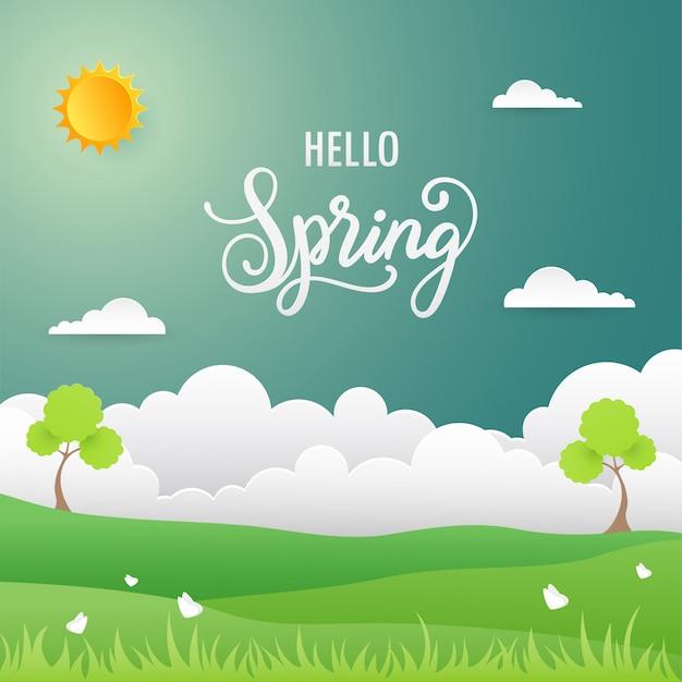 Fond de printemps. paysage naturel au design plat
