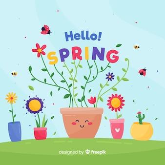 Fond de printemps de pots de fleurs dessinés à la main
