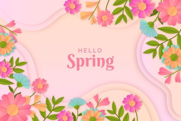 Fond de printemps réaliste en style papier