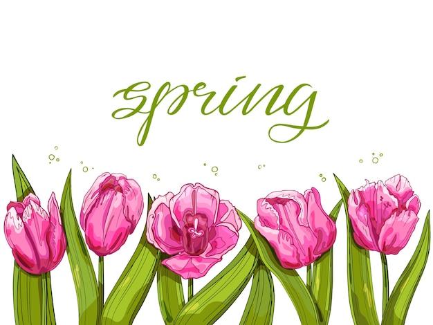 Fond de printemps avec des tulipes roses avec texte rose et vert