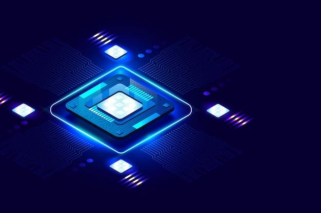 Fond de processeur de micropuce lumineux