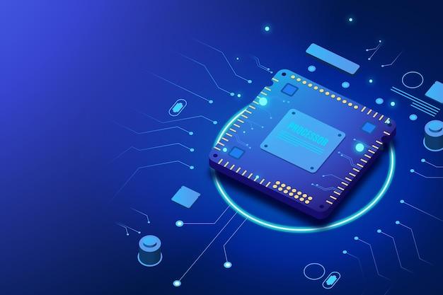 Fond de processeur de micropuce réaliste