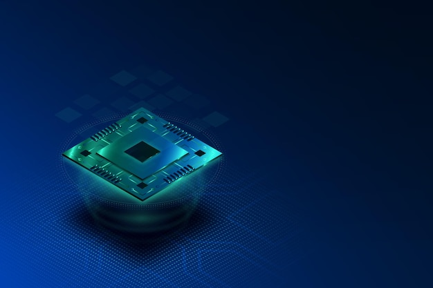 Fond de processeur de micropuce de style réaliste