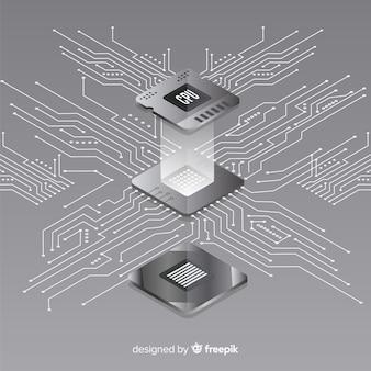 Fond de processeur moderne avec perspective isométrique