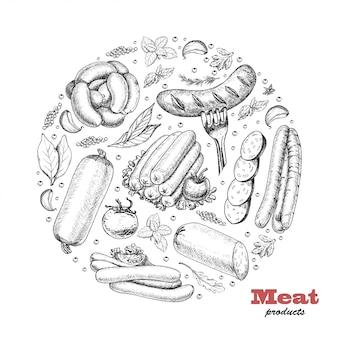 Fond avec des produits à base de viande