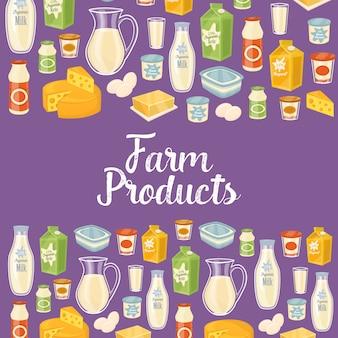 Fond de produits de ferme avec des icônes de produits laitiers