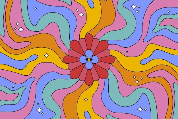 Fond psychédélique groovy dessiné à la main