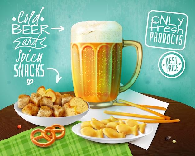 Fond publicitaire de produits frais avec une tasse de bière froide et des bols avec des craquelins et des collations illustration réaliste