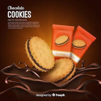 Fond de publicité de biscuits au chocolat