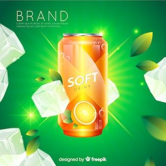 Fond de publicité réaliste de boisson gazeuse