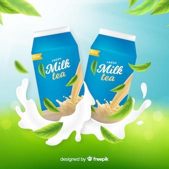 Fond de publicité de thé au lait