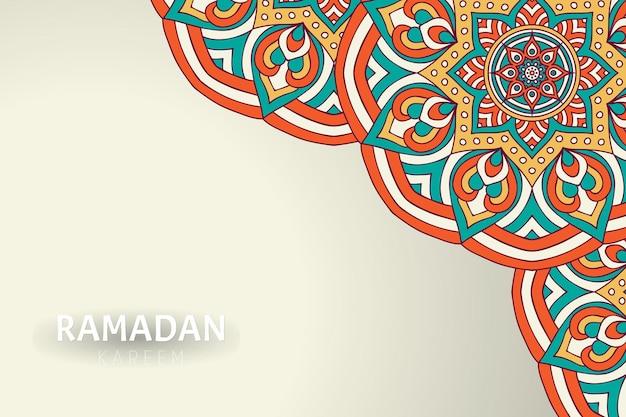 Fond De Ramadam Kareem Avec Des Ornements De Mandala Vecteur gratuit