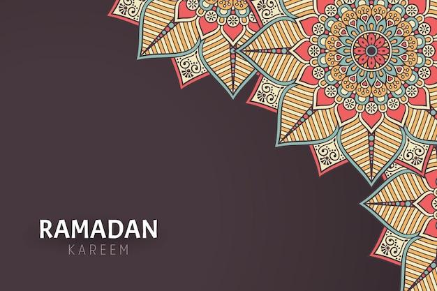 Fond de ramadam kareem avec des ornements de mandala