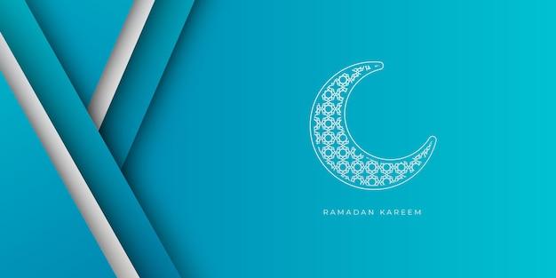 Fond de ramadan bleu et blanc avec décoration en croissant de lune. modèle de bannière islamique ramadan kareem avec fond d'espace de copie