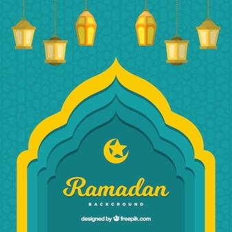 Fond de ramadan avec cadre de porte et lampes