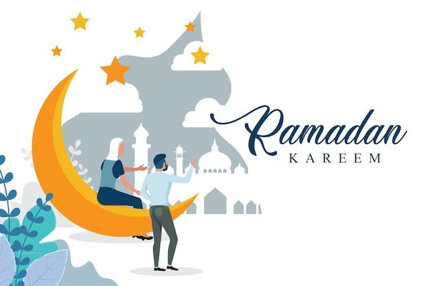 Fond de ramadan avec un design plat