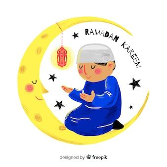 Fond de ramadan dessiné à la main