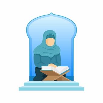 Fond de ramadan avec une femme musulmane lisant le coran dans l'illustration de la mosquée premium