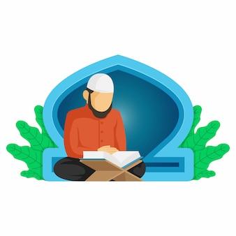 Fond de ramadan avec un homme musulman lisant le coran dans l'illustration de la mosquée premium