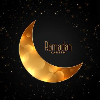 Fond de ramadan kareem croissant de lune dorée eid