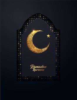 Fond de ramadan kareem fait de petits points dorés brillants et effet du papier découpé.