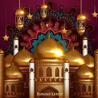 Fond de ramadan kareem, illustration avec des lanternes arabes et un croissant orné d'or.