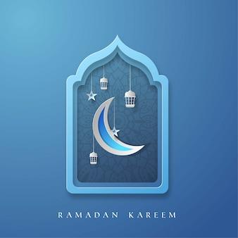 Fond de ramadan kareem avec illustration de lune, étoile et laterne