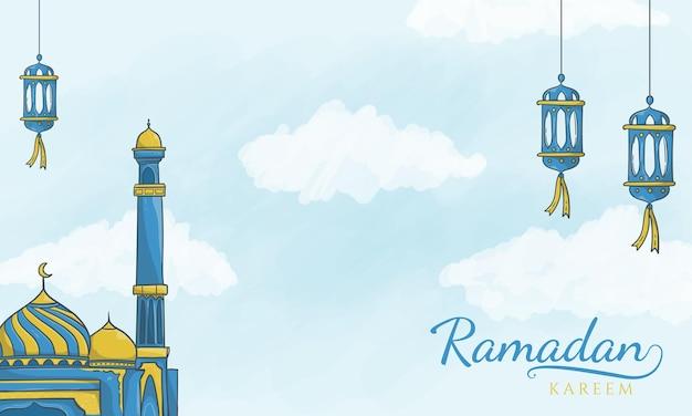Fond de ramadan kareem islamique latern et mosquée