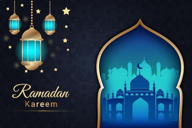 Fond de ramadan kareem de luxe couleur bleu marine et crème