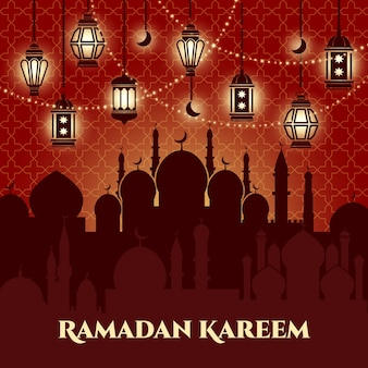 Fond de ramadan kareem avec mosquées et minarets