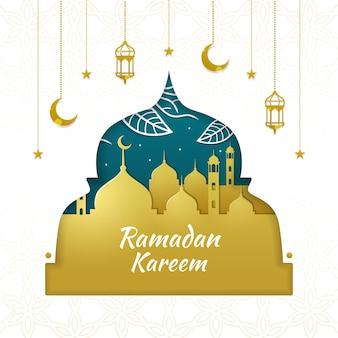 Fond de ramadan kareem en papier découpé
