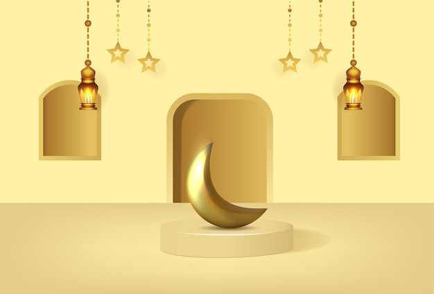 Fond de ramadan kareem avec podium de luxe et lanternes