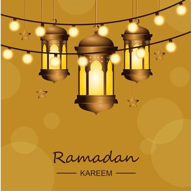 Fond de ramadan karem avec des lumières et des lanternes