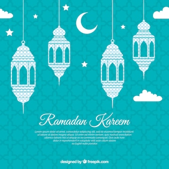 Fond de ramadan avec des lampes plates