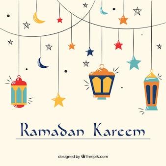 Fond de ramadan avec des lampes en style dessiné à la main