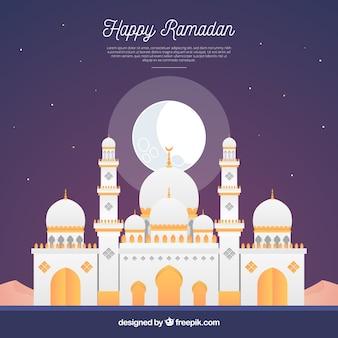 Fond de ramadan avec la mosquée dans le style plat