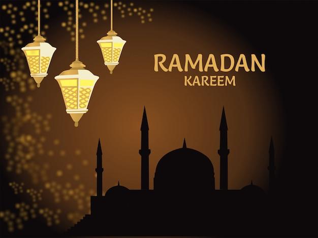 Fond de ramadan moubarak, mosquée avec lampes et ornements