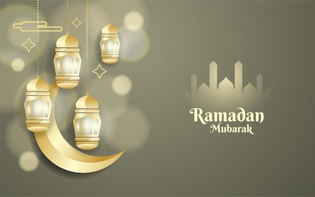 Fond de ramadan mubarak avec lune et lanternes dorées